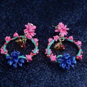 Les Nereides Enamel Blue Flower Earrings